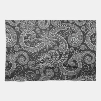 Abstract Black and Grey Floral Pattern Hand Towel