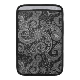 Abstract Black and Grey Floral Pattern MacBook Sleeve