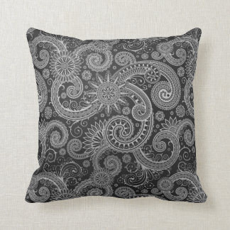 Abstract Black and Grey Floral Pattern Pillows