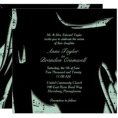 Abstract Black and Mint Music Wedding Invitation