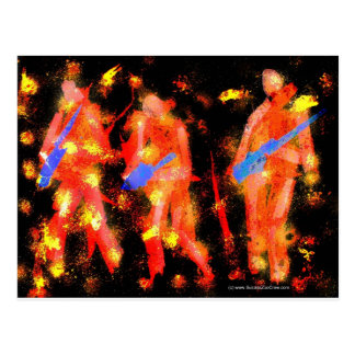 Abstract Black and Orange Musicians Postcard