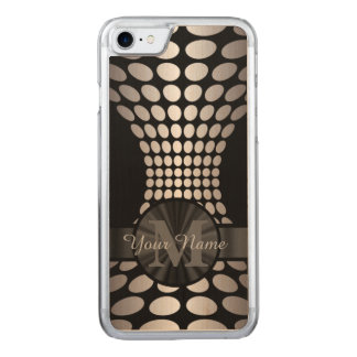 Abstract black and silver pattern monogrammed carved iPhone 8/7 case