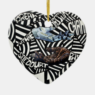 Abstract Black and White Artsy Design Christmas Tree Ornament