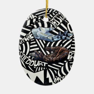Abstract Black and White Artsy Design Christmas Ornament
