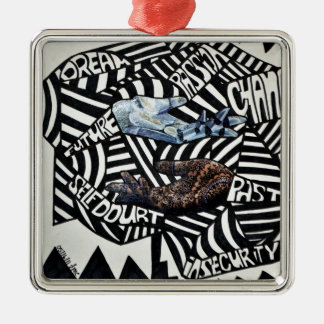 Abstract Black and White Artsy Design Christmas Ornaments