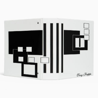 Abstract Black And White Cat Binder