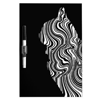Abstract Black and White Cat Swirl monochrome one Dry-Erase Board
