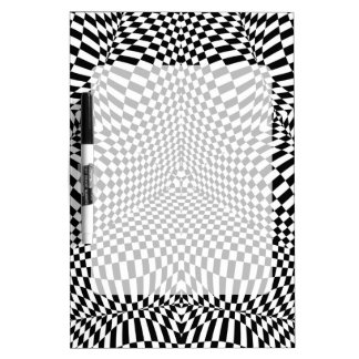 Abstract black and white checkered pattern dry erase board