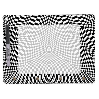 Abstract black and white checkered pattern dry erase board with keychain holder