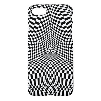 Abstract black and white checkered pattern iPhone 7 case