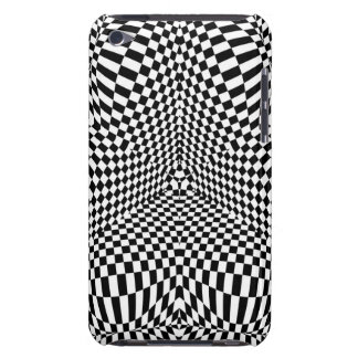 Abstract black and white checkered pattern iPod touch case