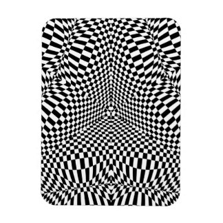 Abstract black and white checkered pattern magnet