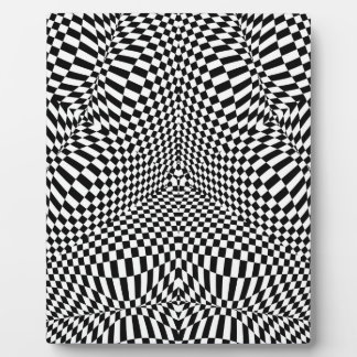 Abstract black and white checkered pattern plaque