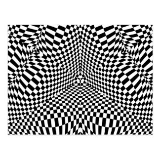 Abstract black and white checkered pattern postcard