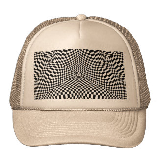 Abstract black and white checkered pattern trucker hat