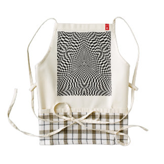 Abstract black and white checkered pattern zazzle HEART apron