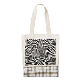 Abstract black and white checkered pattern zazzle HEART tote bag