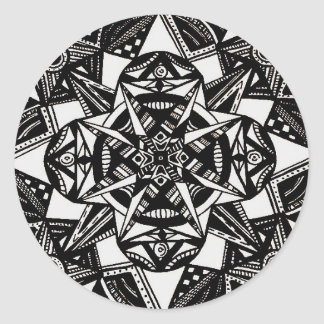 Abstract Black and White Classic Round Sticker