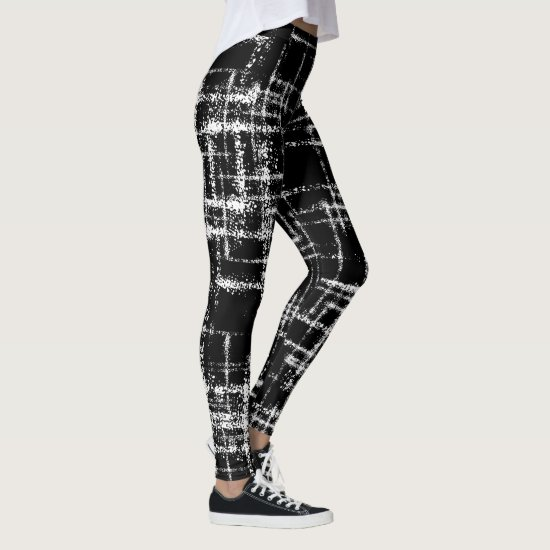 abstract black and white criss cross pattern leggings