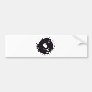 Abstract black and white halftone paintbrush swirl bumper sticker