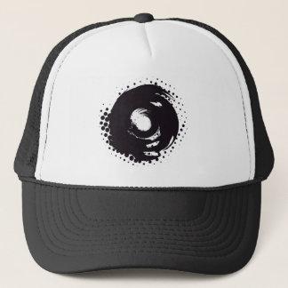 Abstract black and white halftone paintbrush swirl trucker hat