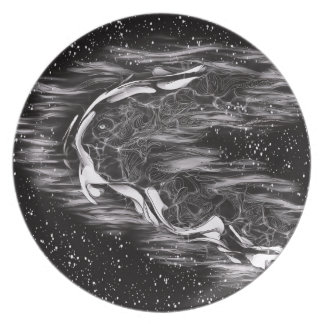 Abstract Black and White Melamine Plate
