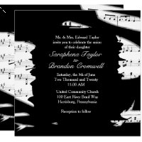 Abstract Black and White Music Wedding Invitation