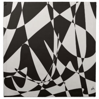 Abstract Black and White Napkin