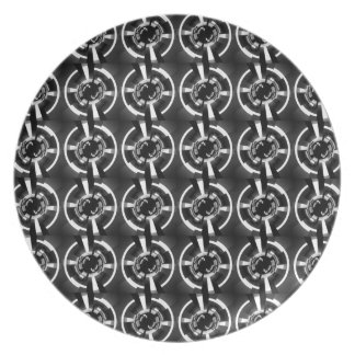 Abstract Black And White Pattern Melamine Plate