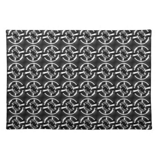 abstract black and white pattern placemat zazzle. Black Bedroom Furniture Sets. Home Design Ideas