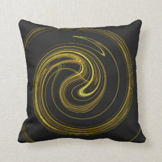 Abstract Black and Yellow Spiral Fractal Pillow