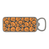 Abstract black background with skulls magnetic bottle opener