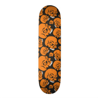 Abstract black background with skulls skateboard deck