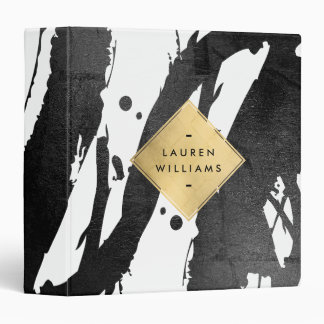 Abstract Black Brushstrokes Faux Gold Foil Diamond 3 Ring Binder