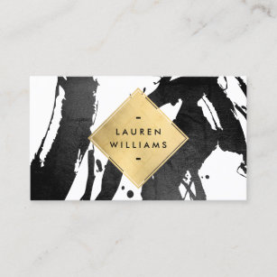 Abstract diamond business cards zazzle abstract black brushstrokes faux gold foil diamond business card colourmoves