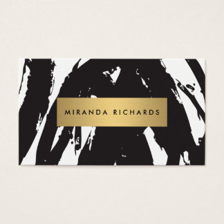 Abstract Black Brushstrokes for Makeup Artist Business Card