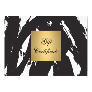 Abstract Black Brushstrokes Gift Certificate 4.5x6.25 Paper Invitation Card