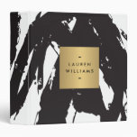 Abstract Black Brushstrokes with Gold Name Binder
