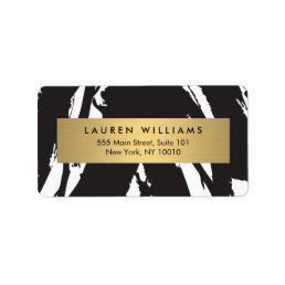 Abstract Black Brushstrokes with Gold Name Label