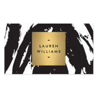Abstract Black Brushstrokes with Gold Name Logo Double-Sided Standard Business Cards (Pack Of 100)