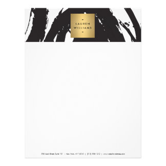 Abstract Black Brushstrokes with Gold Name Logo Letterhead