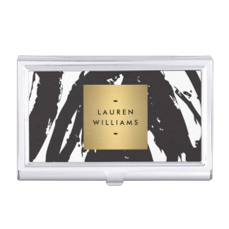 Abstract Black Brushstrokes with Gold Name Logo Business Card Holder