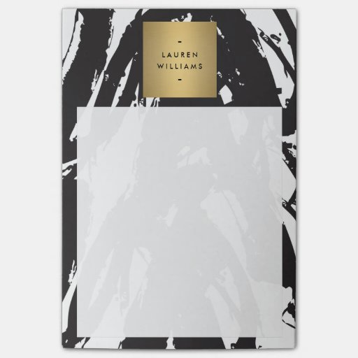 Abstract Black Brushstrokes with Gold Name Logo Post-it® Notes