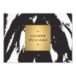 Abstract Black Brushstrokes with Gold Notecard 4.5x6.25 Paper Invitation Card