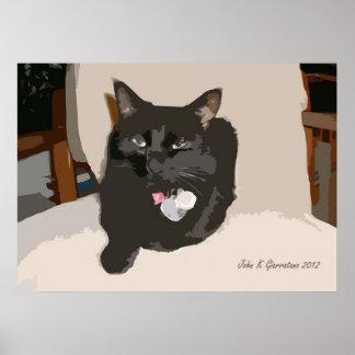 Abstract Black Cat 1 Art Print