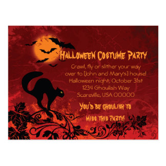 Abstract Black Cat and Bats Halloween Party Invite Postcard