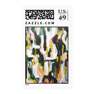 Abstract Black Cats and White Dogs Stamps