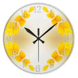 Abstract Black-Eyed Susan Petals Large Clock