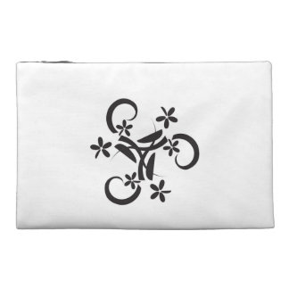 Abstract black floral design travel accessories bag