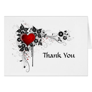 Abstract Black Floral Swirls Red Heart Thank You Card